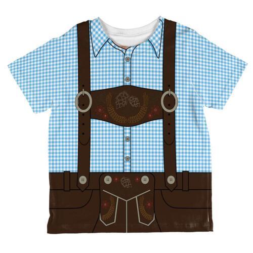 Oktoberfest Lederhosen Costume German Brown Suspenders All Over Toddler T Shirt