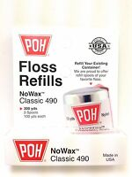 Poh Classic White No Wax Dental Floss 3 Pack Refills 100x3=300 Yards Made In Usa