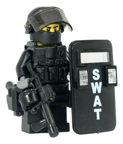 SWAT Riot Control Police Officer Minifigure made with real LEGO(R) parts