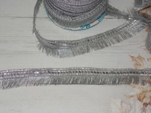 silver metallic fringe trim braid decoration dance ribbon rhinestone 2.5cm