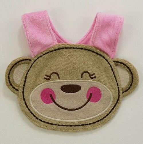 NEW Monkey Baby Girl Pink Terry Cloth Teething Drool Bib