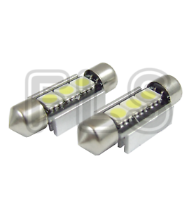INTERIOR BULBS  TRM 2x 37mm CANBUS WHITE LIGHT 3 LED LICENCE NUMBER PLATE