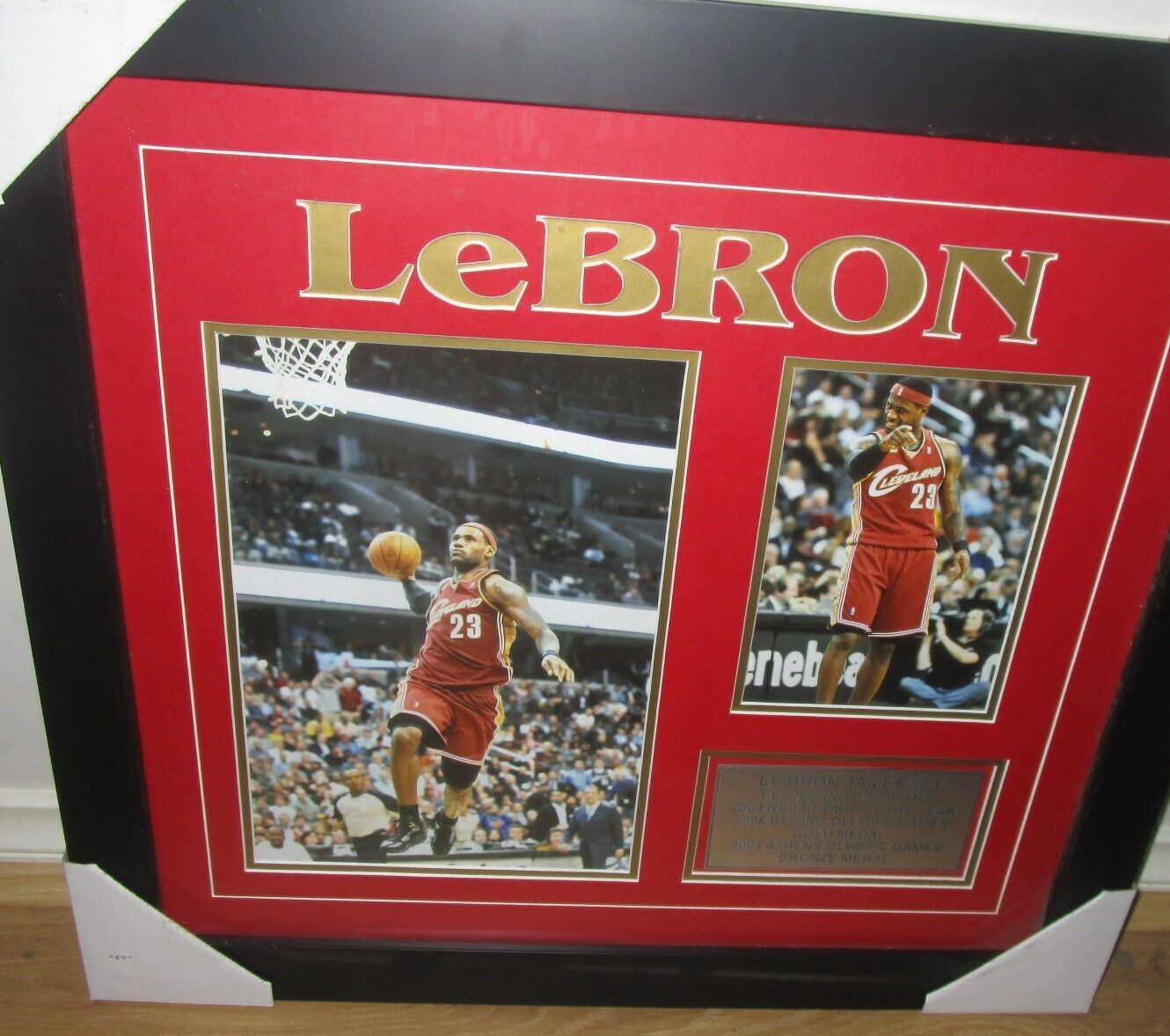 LeBron James Cleveland Cavaliers NBA twin Photo set - Framed with plaque