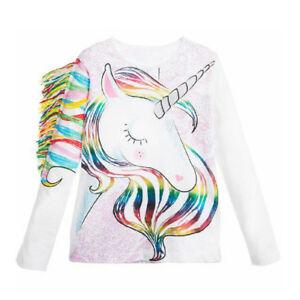 cd5cd2183841 UK Casual Toddler Kids Girls Summer Long Sleeve Unicorn Tops T-shirt ...