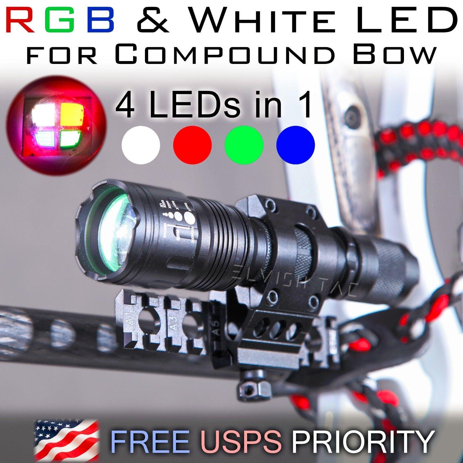 Luz Led Rgb Y blancoo Para Arco Compuesto De Caza Pesca Riel Picatinny 5 modos