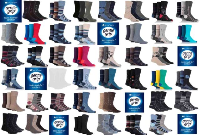 Mens Gentle Grip Socks, Various Plain and Patterned, 3 or 6 Pairs, Size 6-11