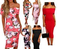 Womens Ladies Bardot Off Shoulder Floral Print Back Cut Bodycon Midi Dress