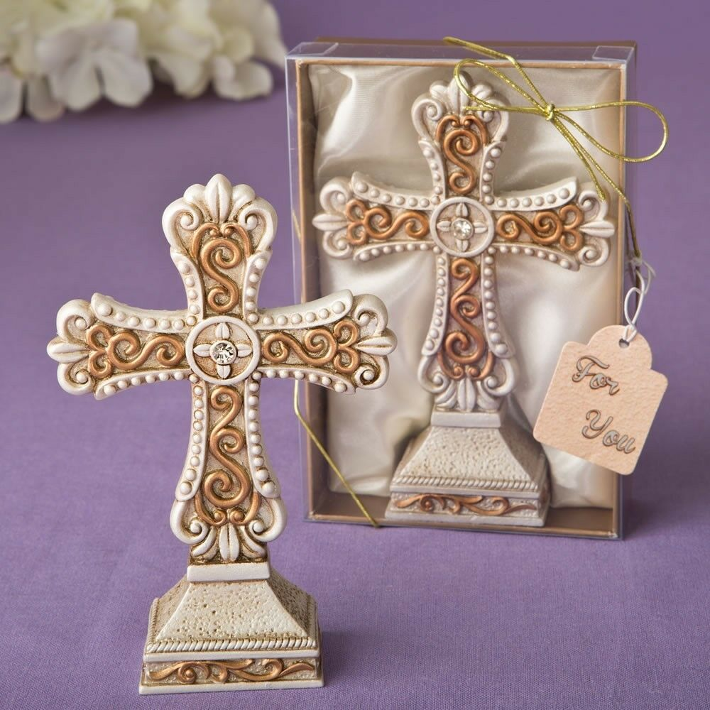 20 or Vintage Cross Statues Christening Baptism Shower Religious Party Favors