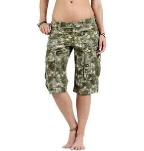 GUESS-Ladies-Shorts-Capri-Pants-Bermuda-Summer-Gr-29-W29-Camouflage-Green-Rivets