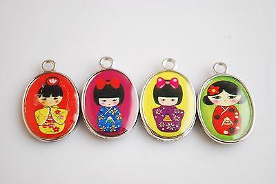 30Pcs Japanese Dolls Enamel Charms Pendants Jewelery Findings 25x15mm