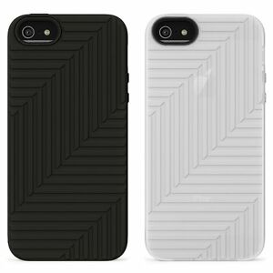 Belkin-iPhone-5S-5-amp-SE-Silicone-Rubber-Flex-Case-Cover-Skin-Black-White-Clear