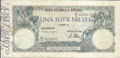 3RW 1JUL F-VF CONDITION ROMANIA 100000 LEI 1945  P 58