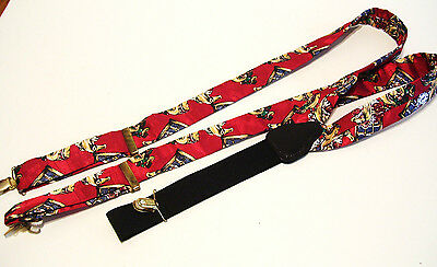 Christmas Suspenders Braces  Brass tone Slides Adjustable Made in Germany