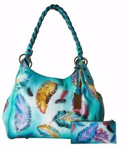 831df9688a Image is loading Anuschka-Floating -Feathers-Triple-Compartment-Shopper-w-Braided-