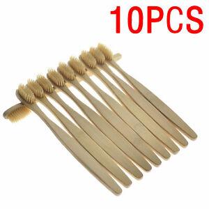 10x-Bambus-Zahnbuerste-Natur-Bio-Vegan-Bambus-Zahnreinigung-Zahnbuerste-Holz