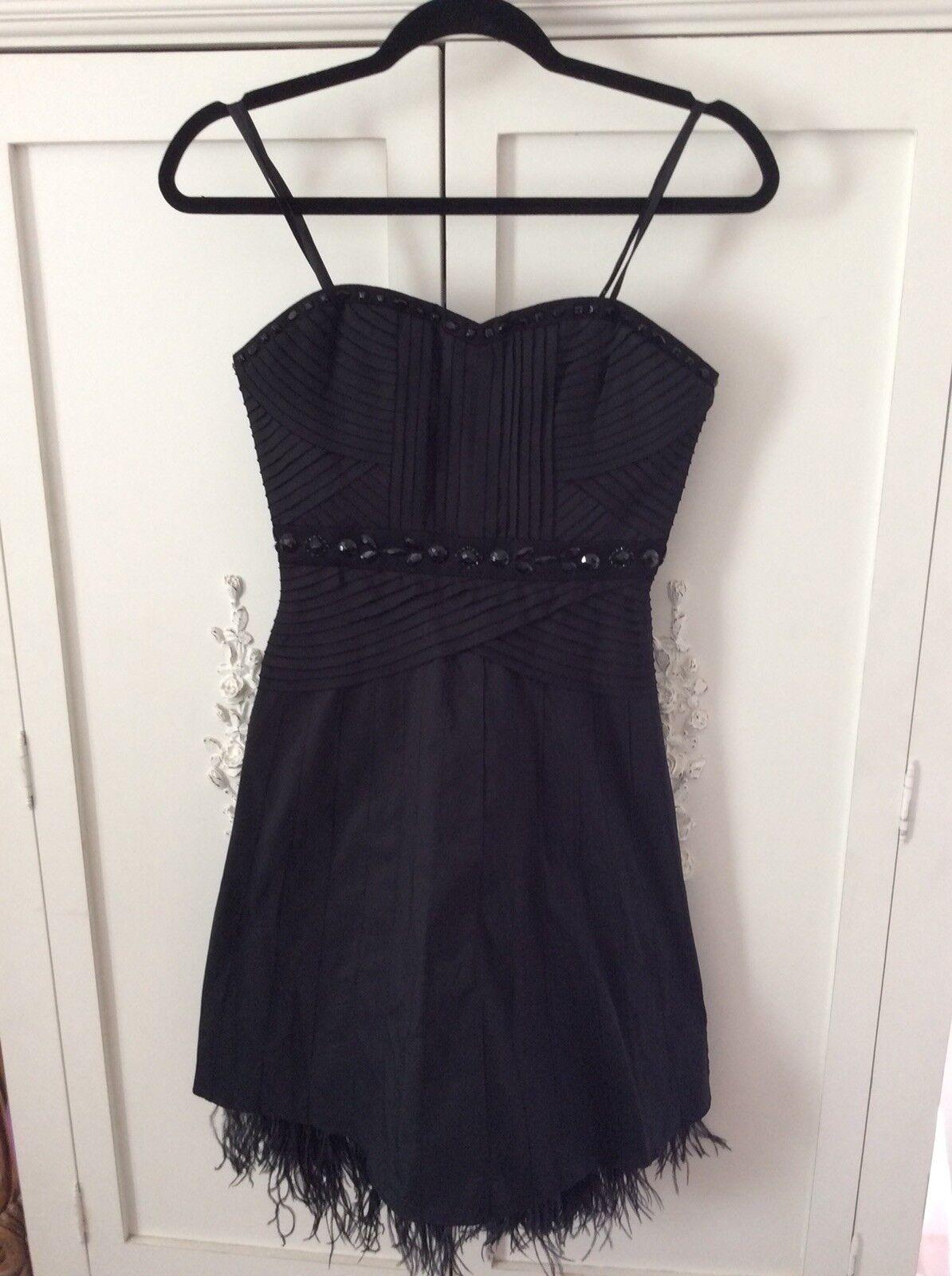 BCBGMaxAzria schwarz beaded  Dress Feathers Größe 4 retails  for 518