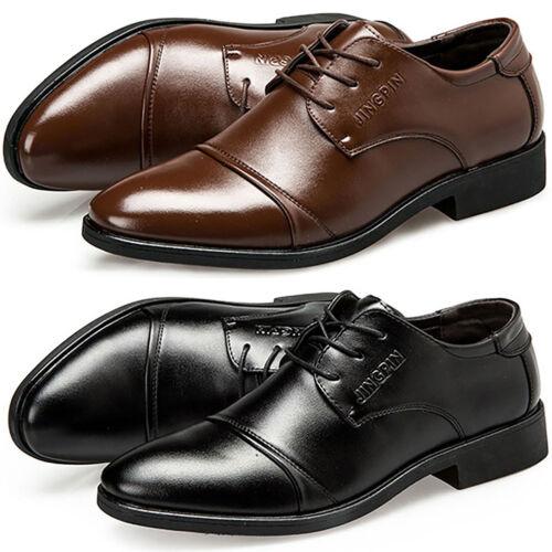 Herren Spitze Schnürschuhe Kunstleder Loafers Müßiggänger Business Anzug Schuhe