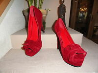 Red Faux Suede Fabric Pumps W/opentoe & Front Bow. Miss Me? 5 Heel. Size 10.