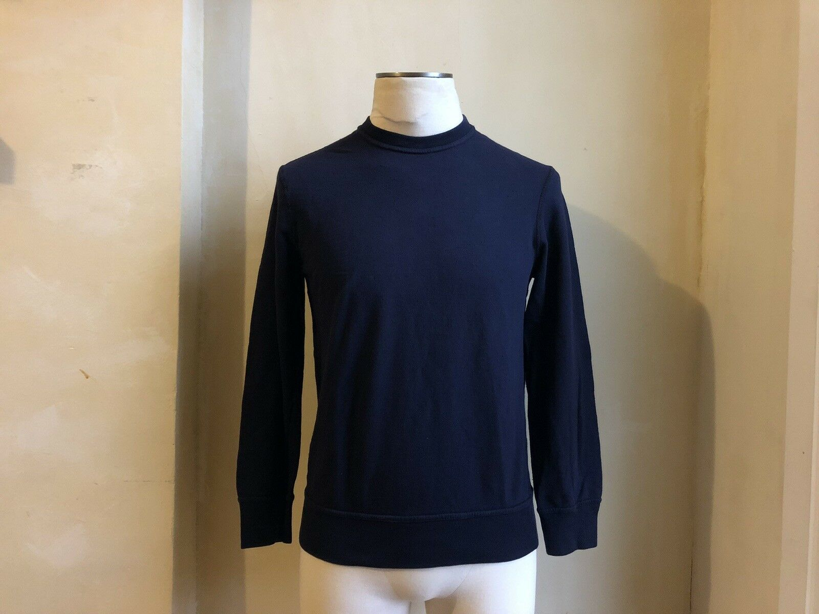Próximamente by Yohji Yamamoto Azul Marino Sudadera Jersey  de aspecto envejecido Rara S XS  últimos estilos