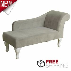 Image Is Loading Chaise Lounge Chair Gray Suede Lounger Living Room