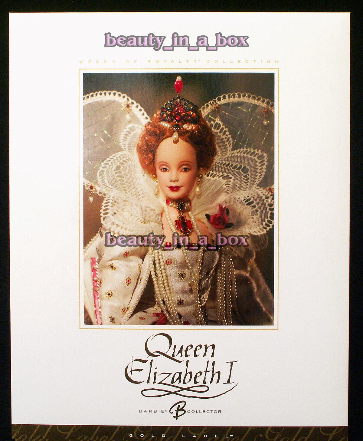 La reina Isabel I Muñeca Barbie mujeres de la realeza Serie oro Label  mnrfb Exc