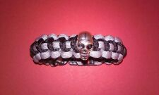 CALL OF DUTY GHOST PARACORD BRACELET SKULL CHARM BLACK AND GRAY 550 CORD 6 1/2""