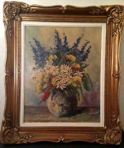 Ancien-Tableau-W-LAMBRECHT-XIX-XXe-Bouquet-de-fleurs-Huile-sur-toile-Signe