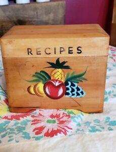 Vintage-Japan-Painted-Wood-Wooden-Recipe-Box-Handpainted-Fruit-MCM