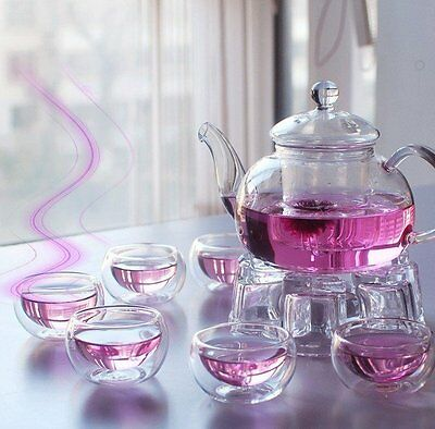 Glass Tea Pot with Infuser Filter, Tealight Warmer, 6 Cups Set. Chinese Gongfu