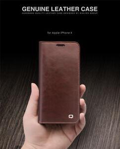 Qialino-Classic-Echt-Leder-Flip-Wallet-Case-Huelle-f-iphone-12-11-Pro-X-XR-XS-Max