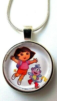 DORA THE EXPLORER BOOTS SILVER PLATED CHAIN 16 INCH  NECKLACE GIFT BOX,BIRTHDAY