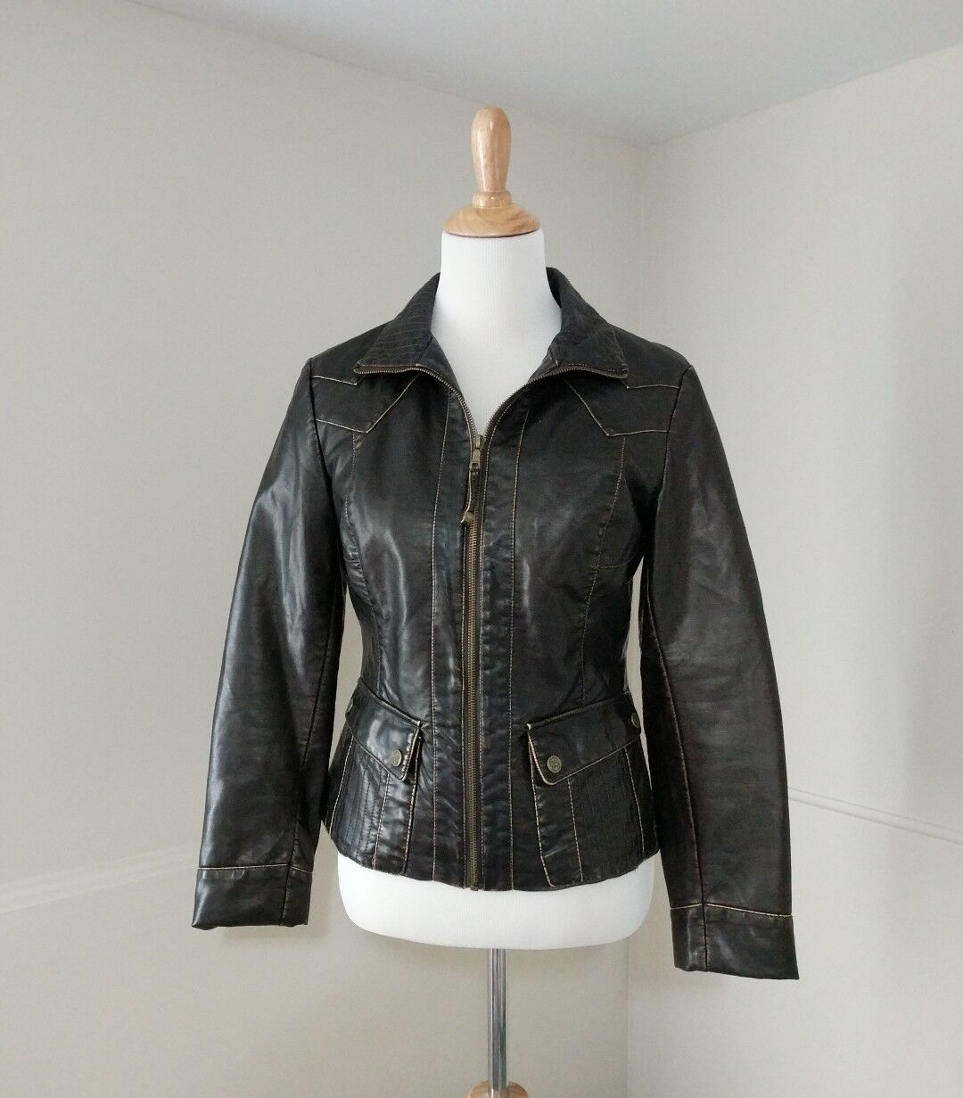 Big Chill Vintage Small Jacket Coat Vegan Leather Brown Bomber Motorcycle