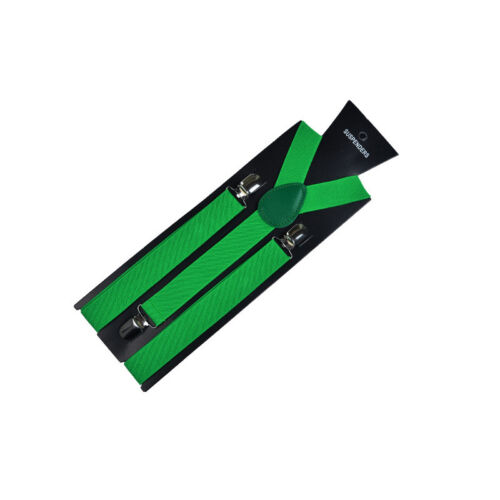 Adjustable Elastic Stripe Braces Clip Polyester Suspenders Men Women Straps