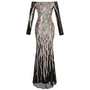 Angel-fashions-Women-039-s-Boat-Neck-Long-Sleeve-Sequins-Flapper-Ball-Gown-404