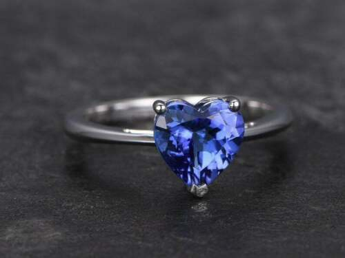 2ct Heart Cut Blue Tanzanite Engagement Ring Solitaire 14k White Gold Over