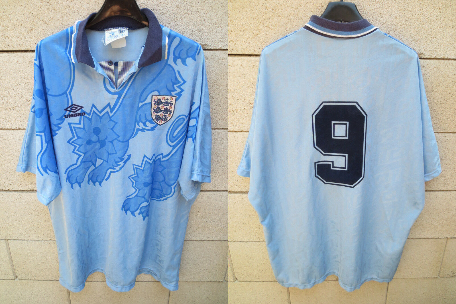 Maillot ANGLETERRE Umbro 1993 ENGLAND vintage shirt rare SHEARER n°9 third XL