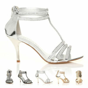 00339cc9143 Image is loading NEW-WOMEN-SILVER-WEDDING-PARTY-DIAMANTE-STRAPPY-SANDALS-