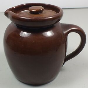 Antique-Bybee-Pottery-Brownware-Small-Pitcher-Creamer-W-Lid-Made-in-Kentucky