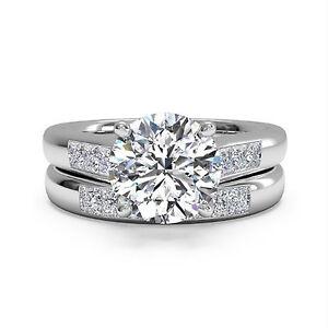 VVS1-1-30-Ct-Diamond-Wedding-Band-Ring-14K-White-Gold-Wedding-Band-Set-Size-N-M