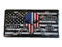 Usa Punisher 2nd Amendment Liberty Or Death 1789 Aluminum License Plate Tag