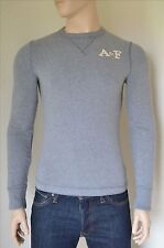 NEW Abercrombie & Fitch Johns Brook Crew Sweatshirt Tee Navy Grey S RRP £50