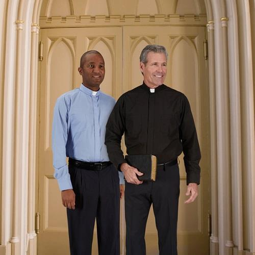 Long Sleeve Comfort Shirt Liturgical Priest Vestment Polyester Cotton Boxed