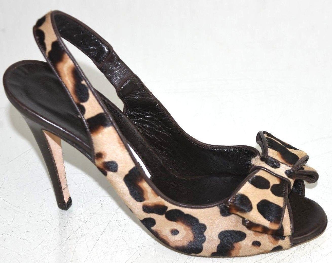 New Manolo Blahnik JORIANO Sandals Slingback PONY Leopard braun Beige schuhe 37