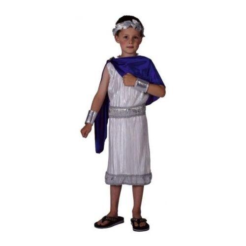 Boys Roman Emperor Caesar Costume Historical Toga Senator Fancy Dress 5-7 Years