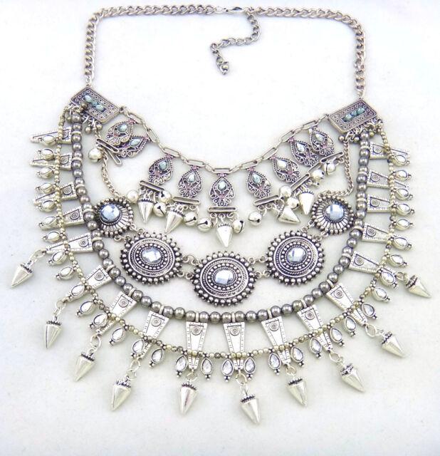 new design women gorgeous multi silver rivet bell bib statement necklace collar