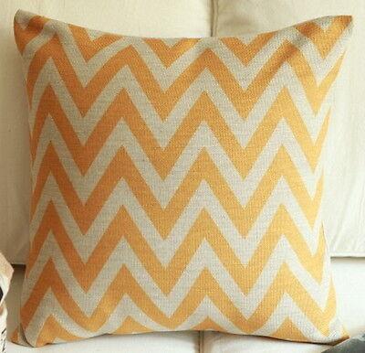 Vintage Cotton Linen Cushion Cover Pillow Case Home Decor Yellow Zigzag