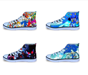 Sonic The Hedgehog Kids Sneakers Gaming 25 New Styles Many Sizes High Tops 2020 Ebay
