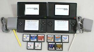 Nintendo-DS-Lite-Console-Lot-2-Systems-10-Games-Cobalt-Blue-amp-Onyx-Black