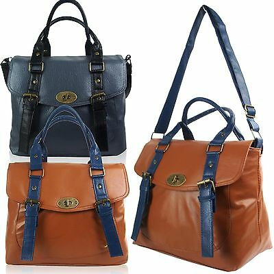 New UK Designer Satchel Bag Womens Across Body Shoulder Long Strap Handbags Tan