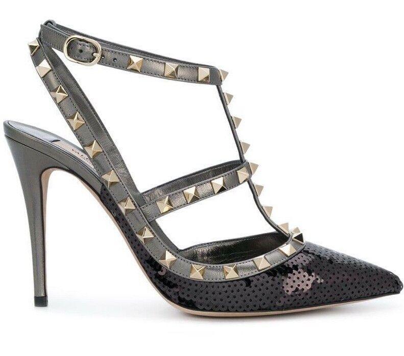 NIB Valentino Rockstud Black Sequin Ankle T Strap Classic Sandal Heel Pump 37